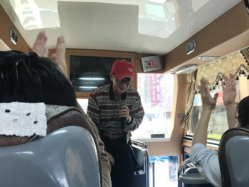▲到着した私たちを迎えてくれた台湾人ガイドのホウさん。日本語もお話もお上手です。