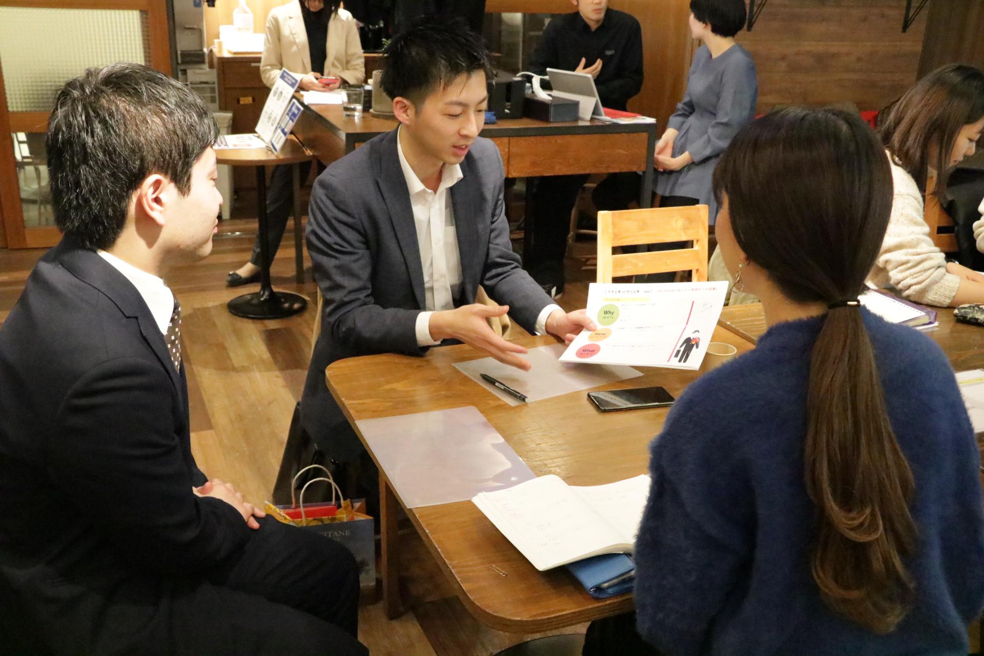 ▲サードアンサーで自分の企業選びの軸を考え、 参加者同士、社会人の先輩も巻き込んだあつい議論。